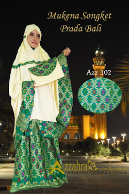 Foto Mukena Prada warna Green / Hijau