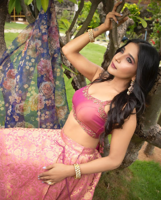 Actress Sakshi Agarwal Latest Stills in Half Saree Actress Trend