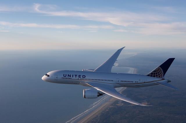 Boeing 787-8 Dreamliner of United Airlines Over Coast