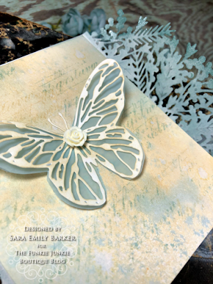 Sizzix Olivia Rose Foliage Wrap Tim Holtz Scribbly Butterfly Wrapped Card for The Funkie Junkie Boutique by Sara Emily Barker 8