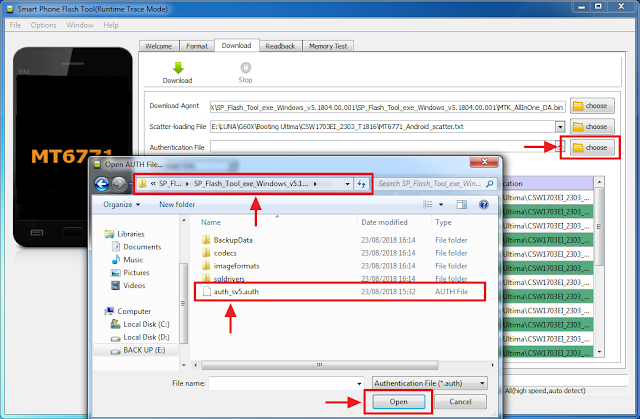 Open authentication file untuk Flash Luna G60X