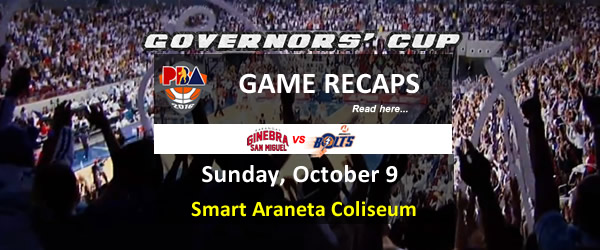List of PBA Game Sunday October 9, 2016 @ Smart Araneta Coliseum