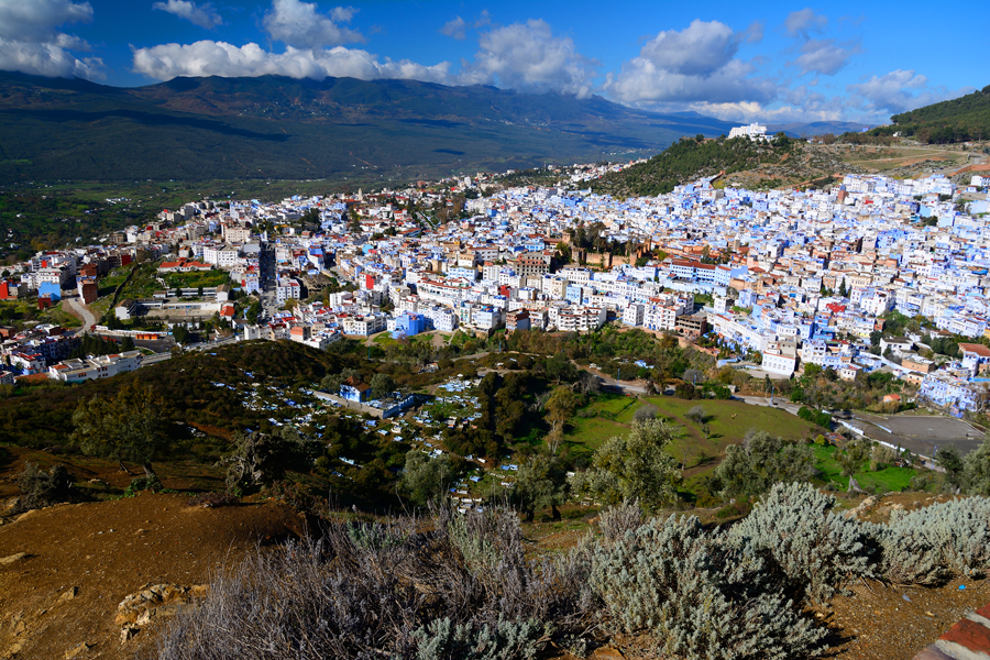 Niebieskie miasto w Maroko