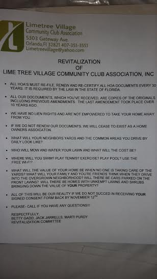 Free Lime Tree  They Cannot Lien  They Cannot Revitalize  The new newsletter is out today and there was an interesting document on  the front from the revitalization committee  who are also members of the  board of