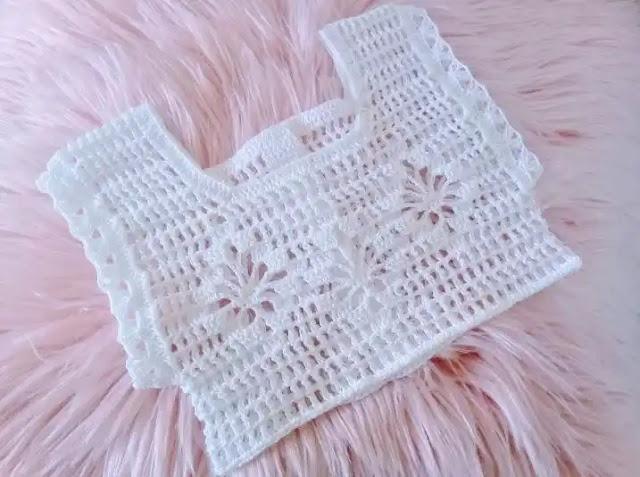 Tutorial Canesú a Crochet para Bebe 6 a 9 Meses