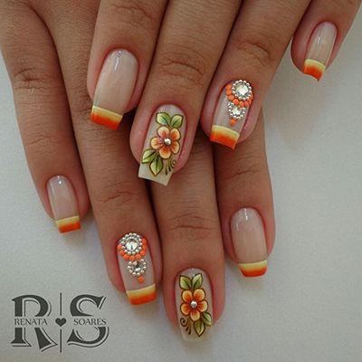 unhas decoradas laranja 2