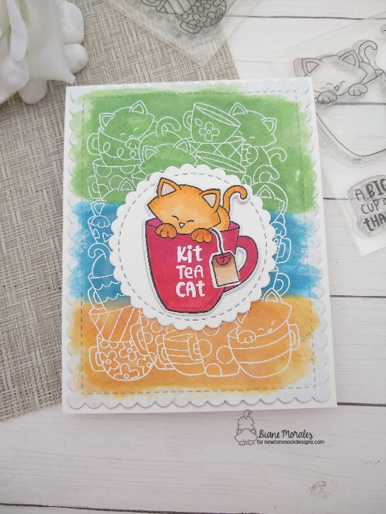 Kit Tea Cat by Diane features Caffeinated Cats, Newton's Mug, Frames & Flags, and Circle Frames by Newton's Nook Designs; #newtonsnook, #inkypaws, #cardmaking, #teacards, #watercolorcards, #catcards