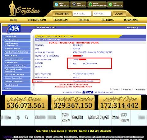 Selamat Kepada Member Setia Ompoker WD Rp 16.000.000