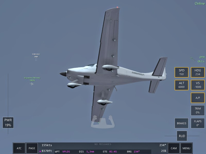 Cirrus SR22 Ecran du jeu multijoueurs Infinite Flight.