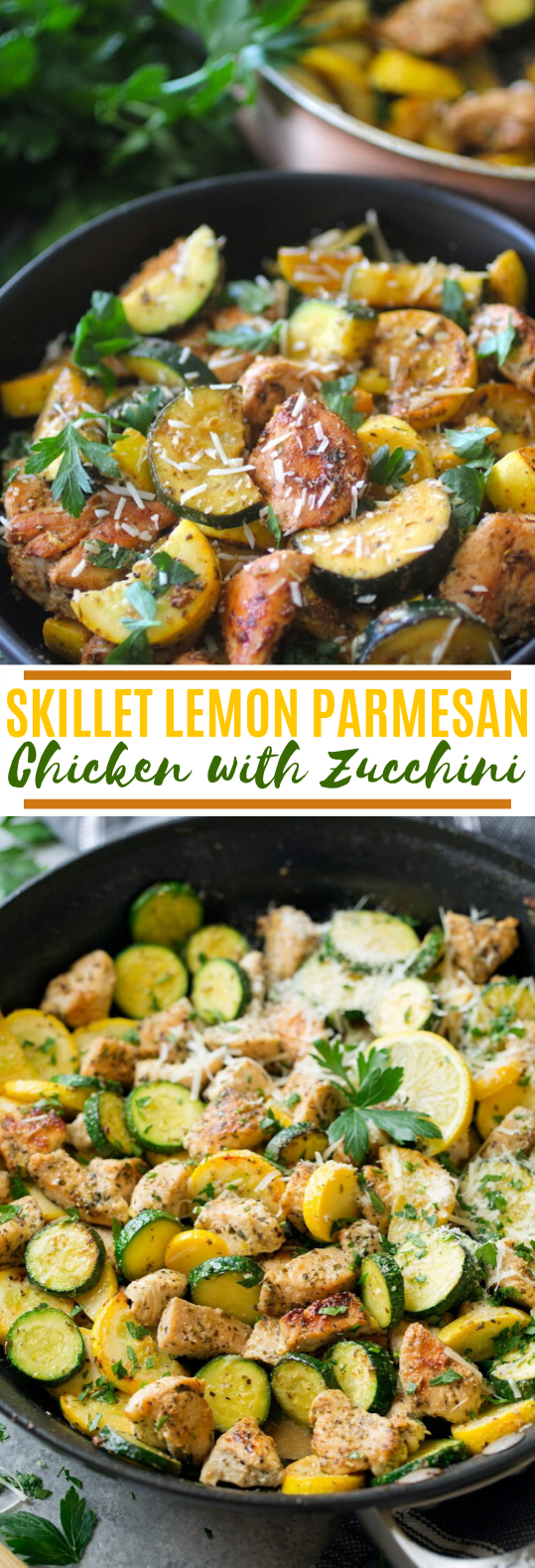 Skillet Lemon Parmesan Chicken with Zucchini #healthy #lowcarb #keto #dinner #easy