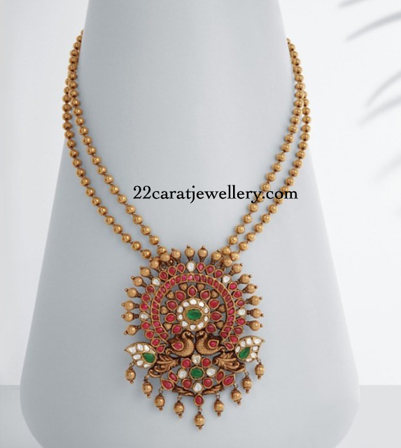 Gold Beads Necklace by Neelkanth Jewellers