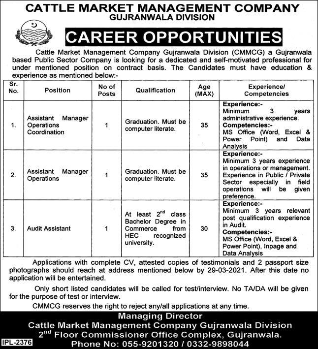 Cattle Market Management Company Jobs 2021 in Gujranwala Division