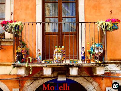 Balcony with masks, Taormina | Sicily, Italy | wayamaya