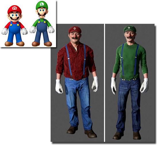 Personagens de desenhos como se fossem de carne e osso  Super Mario e Luigi