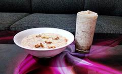 Semiya Payasam - Recipe - How to make Semiya Payasam - vermicelli,image with a bowl of semiya payasam and a full glass of semiya payasam on a table,