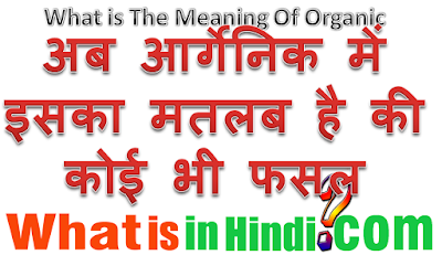 What is the meaning Organic in Hindi