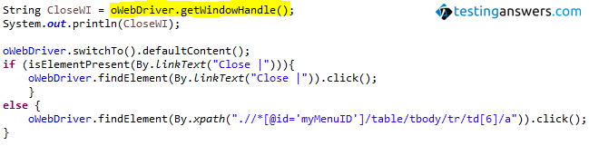 getWindowHandle in Selenium