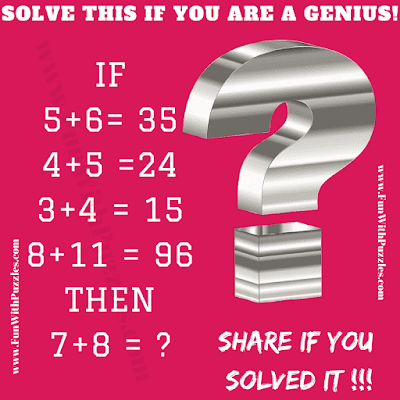 If 5+6=35, 4+5=24, 3+4 = 15, 8+11=96 Then 7+8 = ?