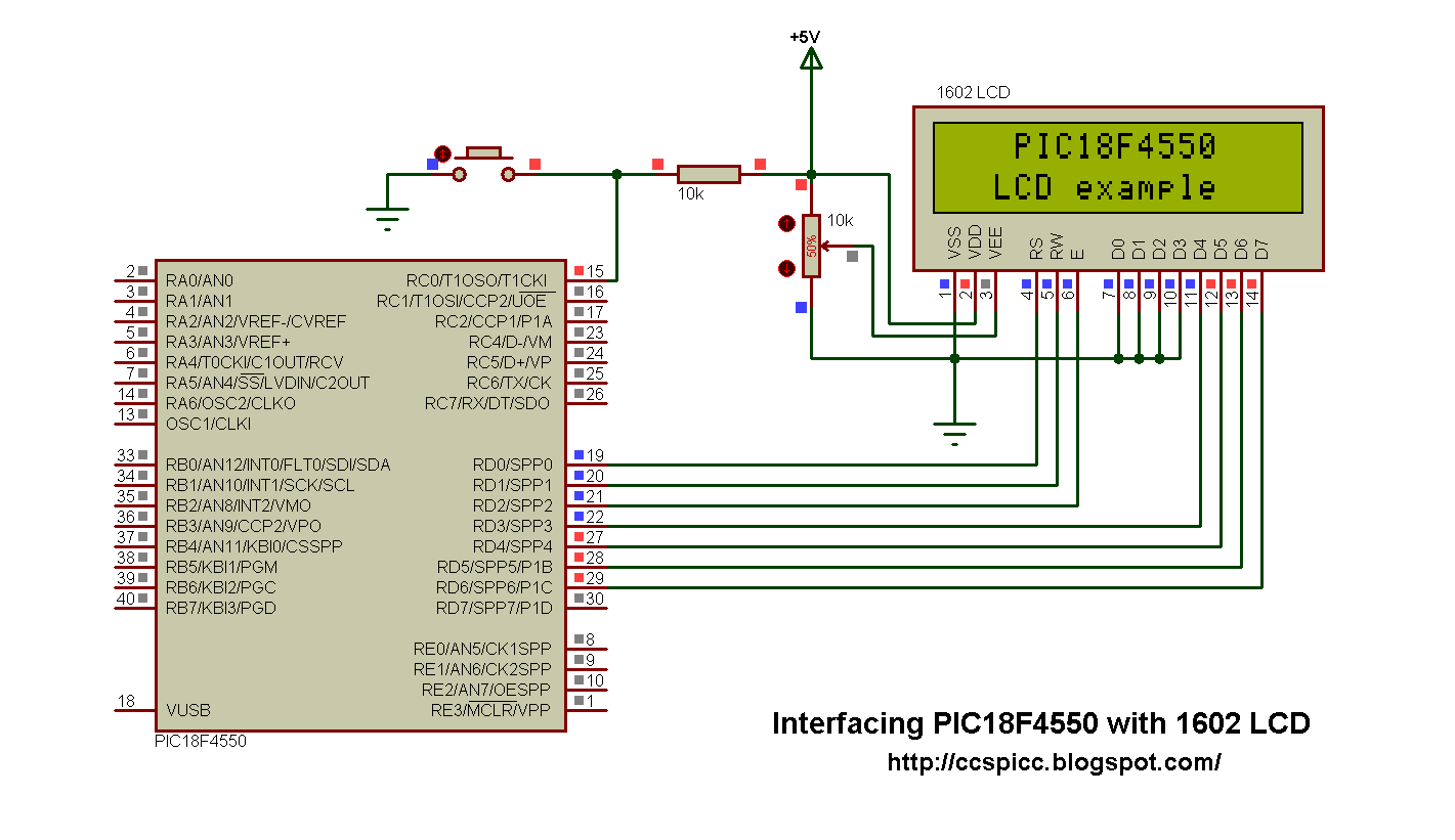 PIC18F4550 interfacing with LCD using CCS PIC C compiler