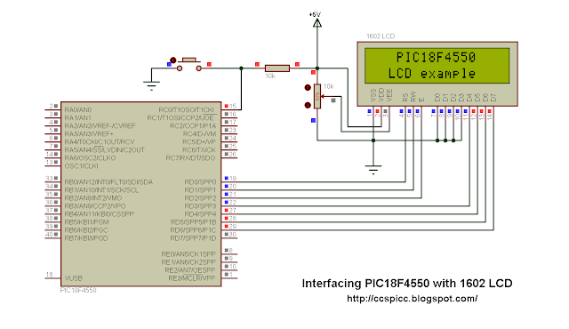 Interface LCD with PIC18F4550 microcontroller using CCS PIC C