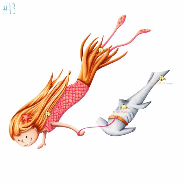 Squid mermaid digital stamp