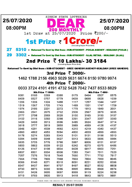 Sikkim State Lotteries  Dear 200 Monthly Lottery result 25-07-2020