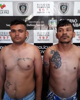 Polícia prende em Baraúna, na PB, dupla acusada de diversos crimes