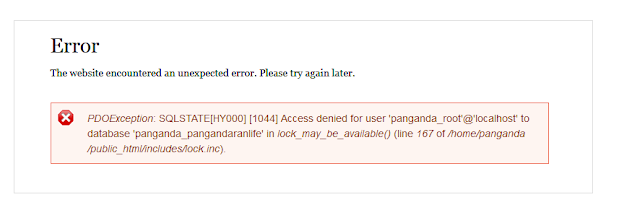 Drupal error saat di hosting