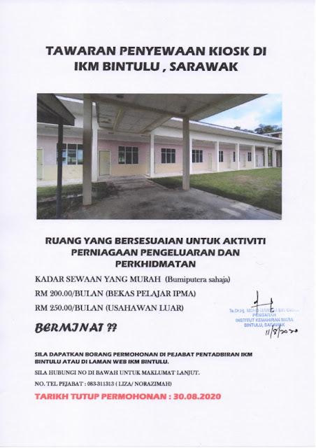 Tawaran Penyewaan Kiosh di IKM Bintulu, Sarawak