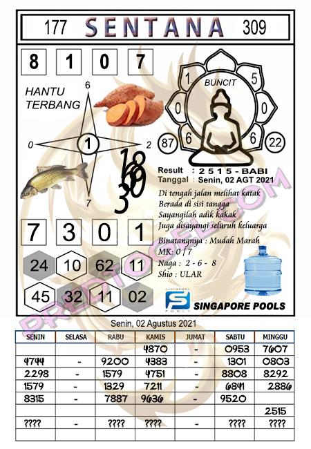 Syair Sentana Singapura Senin 02-08-2021