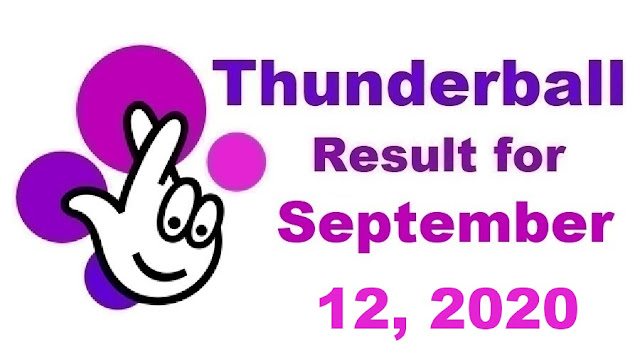 Thunderball Results for Saturday, September 12, 2020