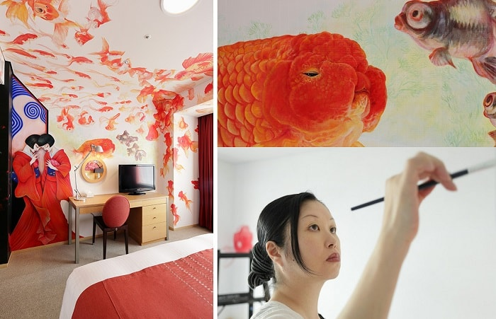 No. 09 Park Hotel Tokyo Artist Room 'Geisha Goldfish' designed by Aki Nakita