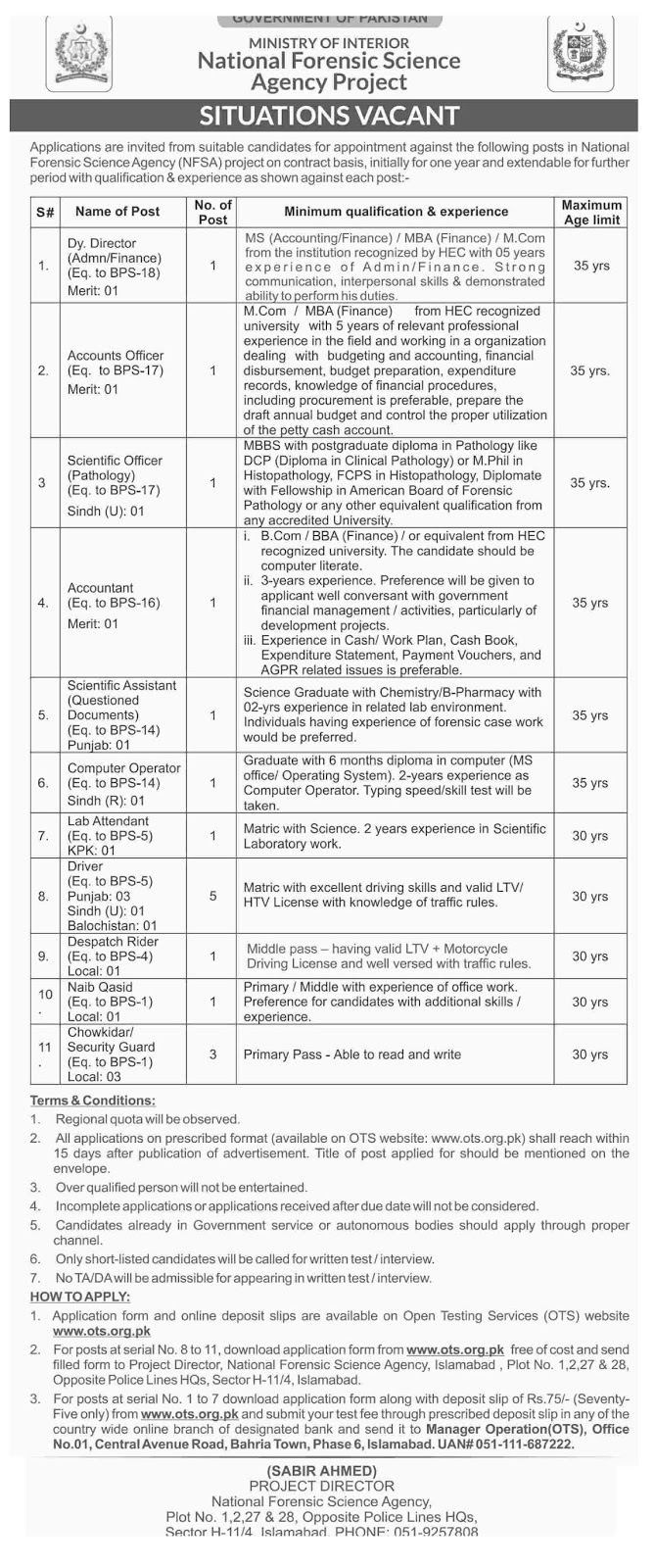 National Forensic Science Agency NFSA Jobs 2019