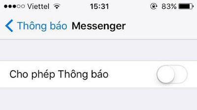 Bật thông báo Messenger trong phần Cài đặt của iPhone
