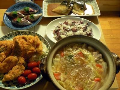 夕食の献立 献立レシピ 飽きない献立 鯵フライセット