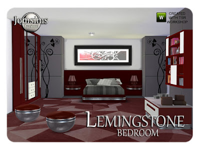 Lemingstone bedroom Спальня Лемингстон для The Sims 4 1 двуспальная кровать с большим изголовьем в 3 цветах с металлической текстурой. 1 торцевой стол 3 цвета с фактурой металла, созданный специально для изголовья. 1 настольная лампа металлическая гладкость в 3 цветах. 4 коврика больших размеров .3 картины кости черные. и 3 костей коричневого цвета. 1 журнальный столик со стеклянным поддоном в 3 цветах.1 очень большой настенный зеркальный эффект комода в 3 цветах. 1 настенная декоративная полка с декором для книг и декоративными предметами в 3 цветах. 1 слоёная пластиковая текстура и металлическая текстура в 3 цветах. 5 подушек деко для кровати вы найдете в категории ковров в 3 разных стилях. 3 разных наклейки на стену. Все предметы были протестированы. Автор: jomsims