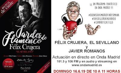 Cartel de la actuación en Directo en Onda Madrid, 16 de junio de 2019