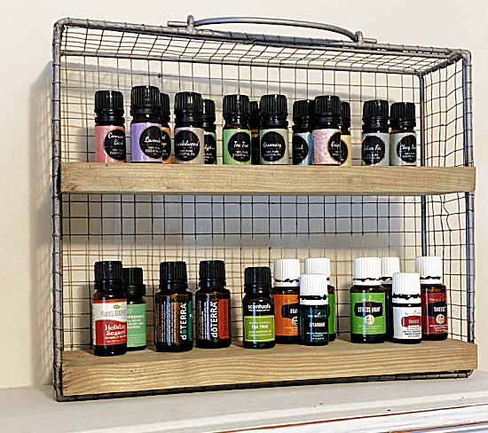 Essential oil wire shelf filled with bottles