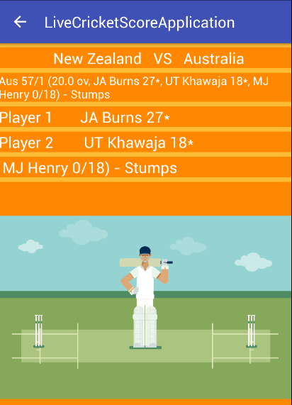 Android Example: Live Cricket Score Example