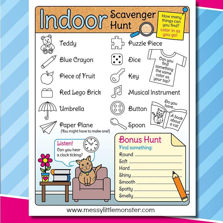 indoor scavenger hunt for kids