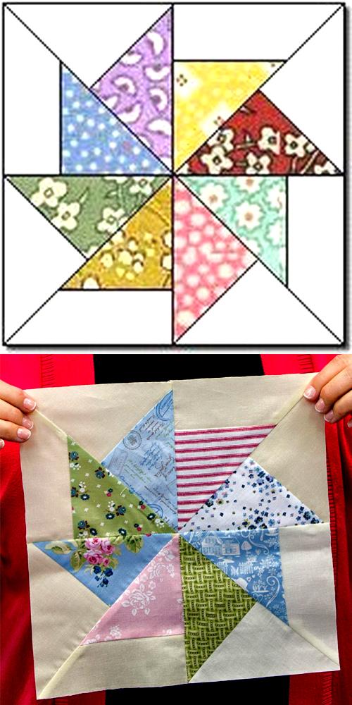 Pinwheel Quilt Block - Free Pattern