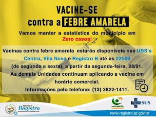 Secretaria de Saúde de Registro-SP estende horário de vacinação contra Febre Amarela