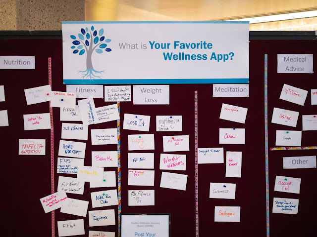 """A board titled """"Whats your favorite wellness app?"""" with many responses on notecards below."""