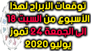 توقعات الأبراج لهذا الأسبوع من السبت 18 الى الجمعة 24 تموز يوليو 2020