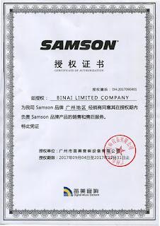 Chứng nhận phân phối chính hãng Samson