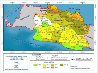 Prakiraan awal musim hujan di Jawa Barat tahun 2019-2020. Sumber : BMKG.