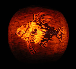 The Dory Logo carved on a pumpkin