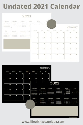 Free 2 versions printable of 2021 Undated Monthly Calendar Minimalist for digital planning. l Life with ZG l Bullet journal ph l digital planner l Bujo philippines