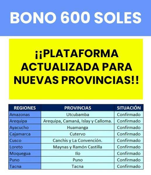 BONO S/600: Ya Está Habilitada La PLATAFORMA Para El Segundo Grupo De PROVINCIAS