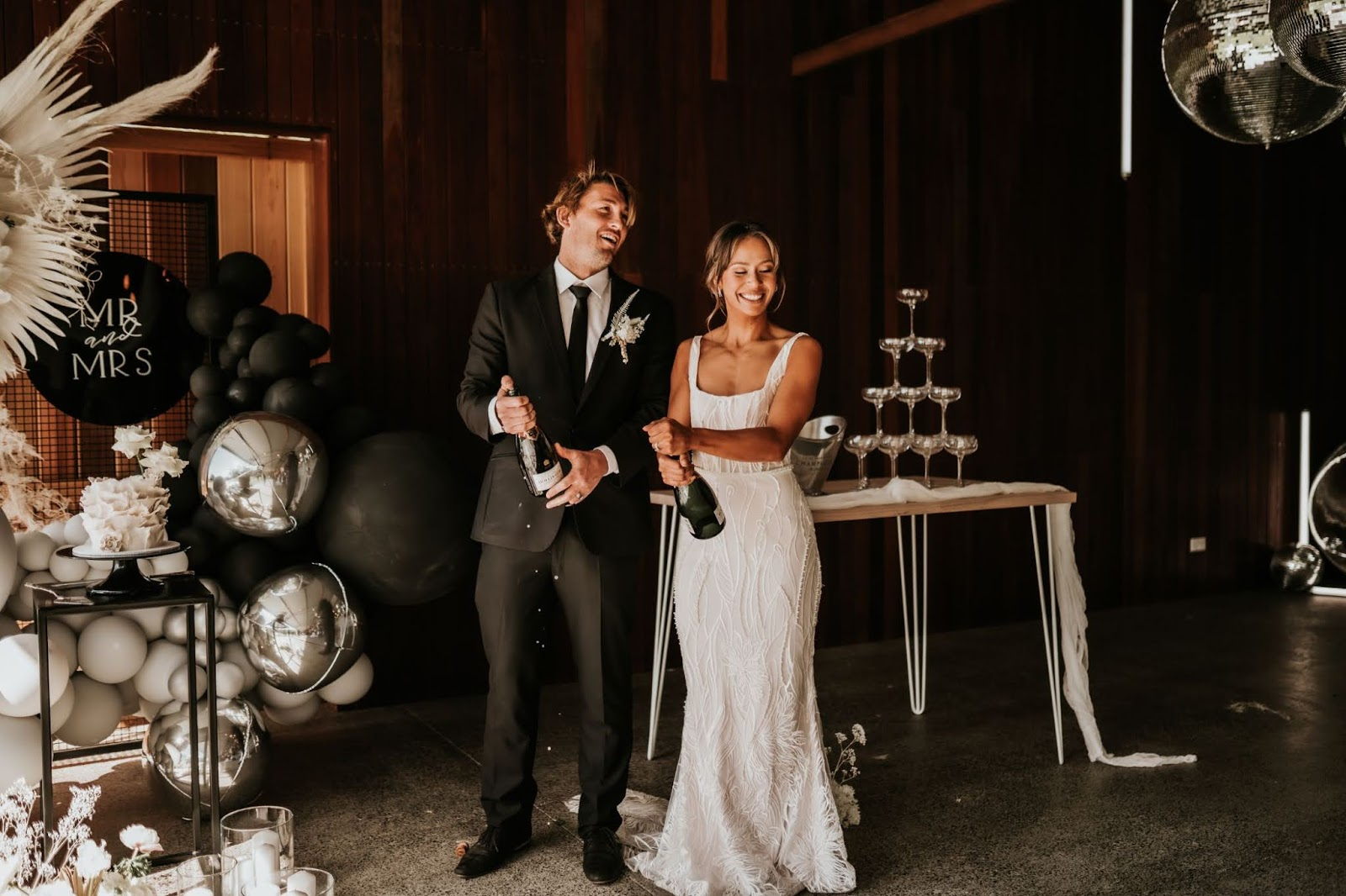 barefoot soul photography sydney central coast floral design bridal gowns black and white tablescape styling
